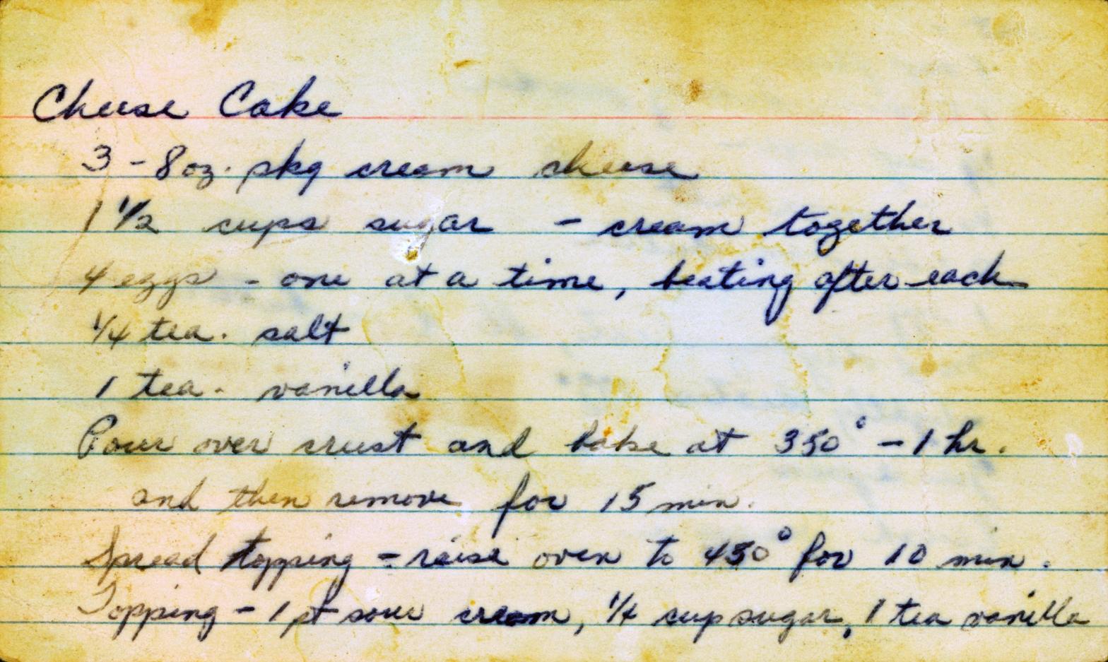 vintage handwritten recipe card