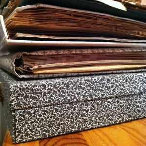 Physical Photo and Memorabilia Organizing-close up stack of vintage box and old photo albums