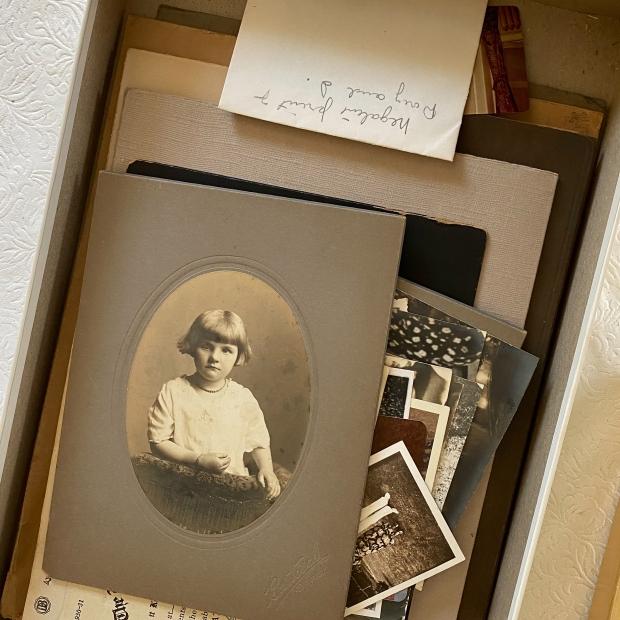 Physical Photo and Memorabilia Organizing-box of loose vintage photographs