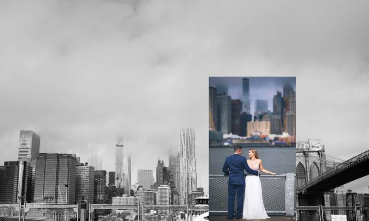 custom photo book design-wedding album layout photo of ny city with couple superimposed in color