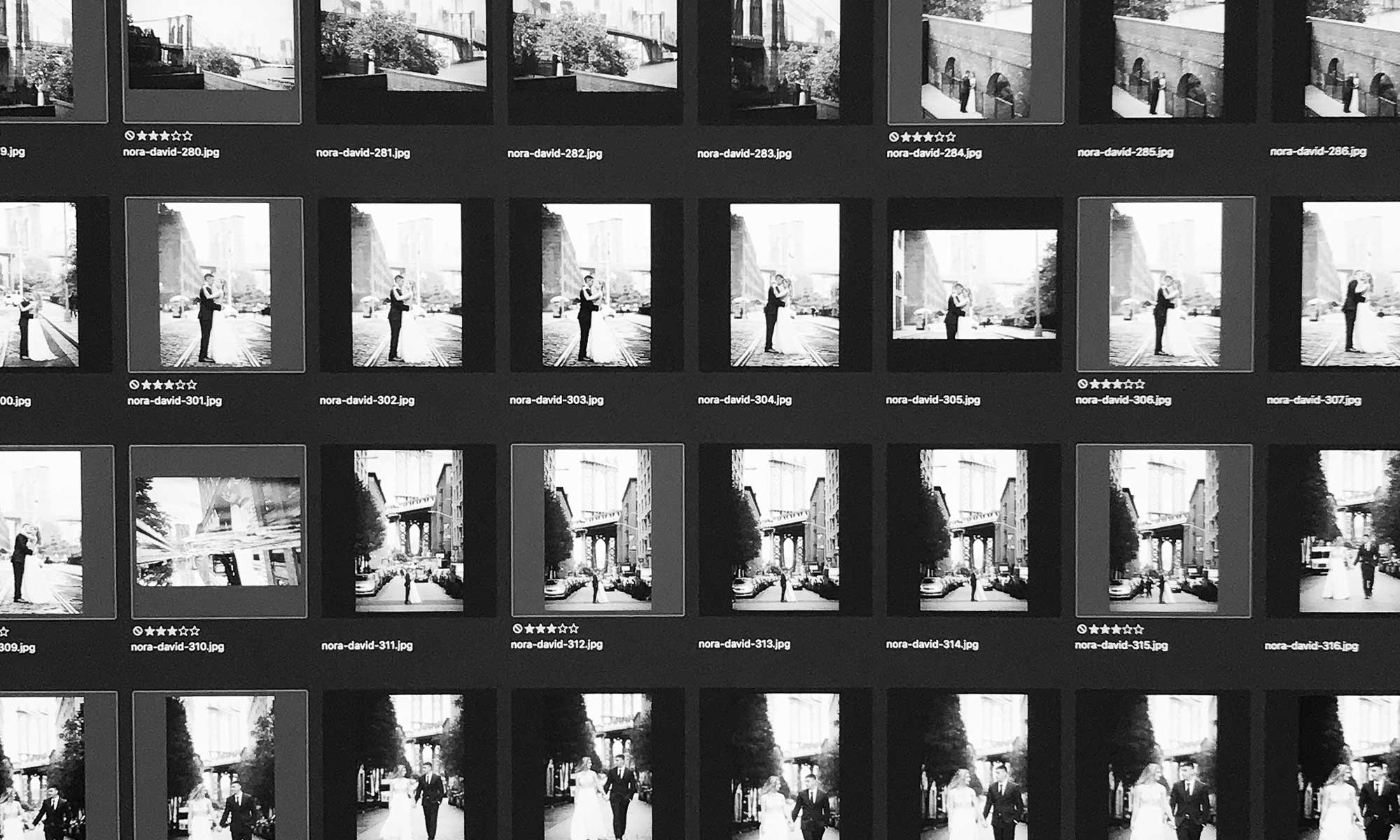 digital photo organizing-computer screen shown in black and white full of wedding photos